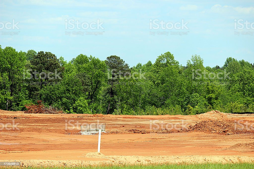Close Up of Cleared Land at Construction Site stock photo