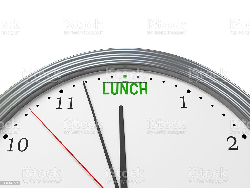 Close Up Of Clock Approaching Lunch Time At 12 Noon royalty-free stock photo