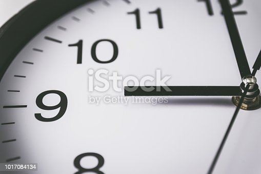 istock Close up of clock with selective focus at 9 Oclock 1017084134