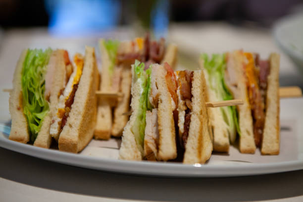 close up of club sandwiches. - club sandwich stock photos and pictures