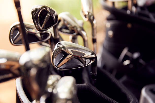 Close Up Of Clubs In Bag On Golf Buggy stock photo