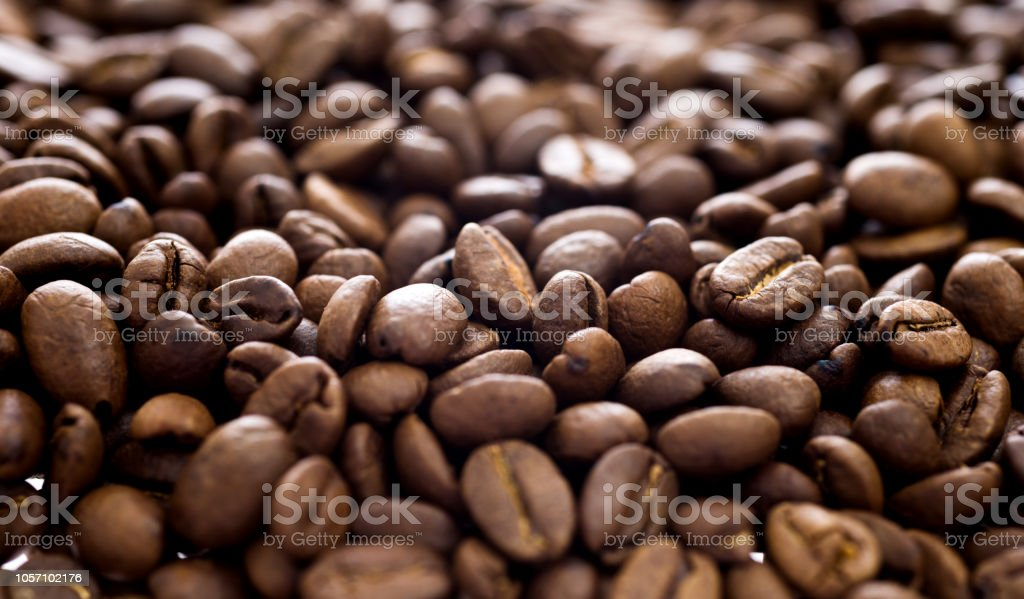 Close up of coffee beans background stock photo