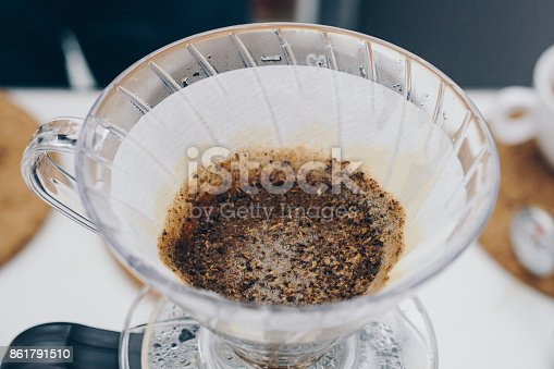 The concept photo of making a dip coffee.