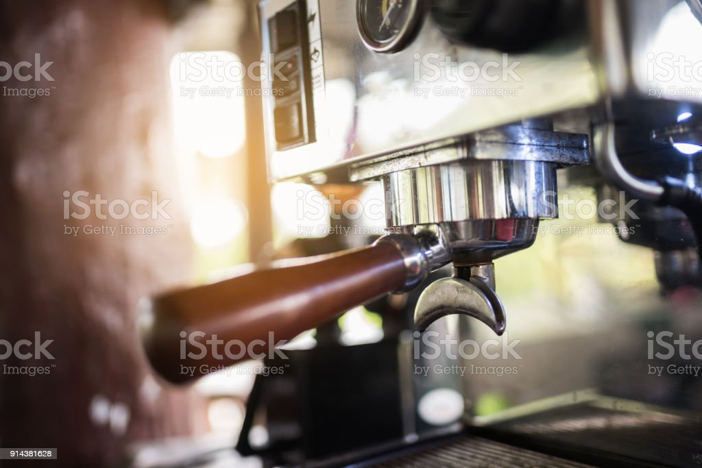 close up of coffee machine in the cafe