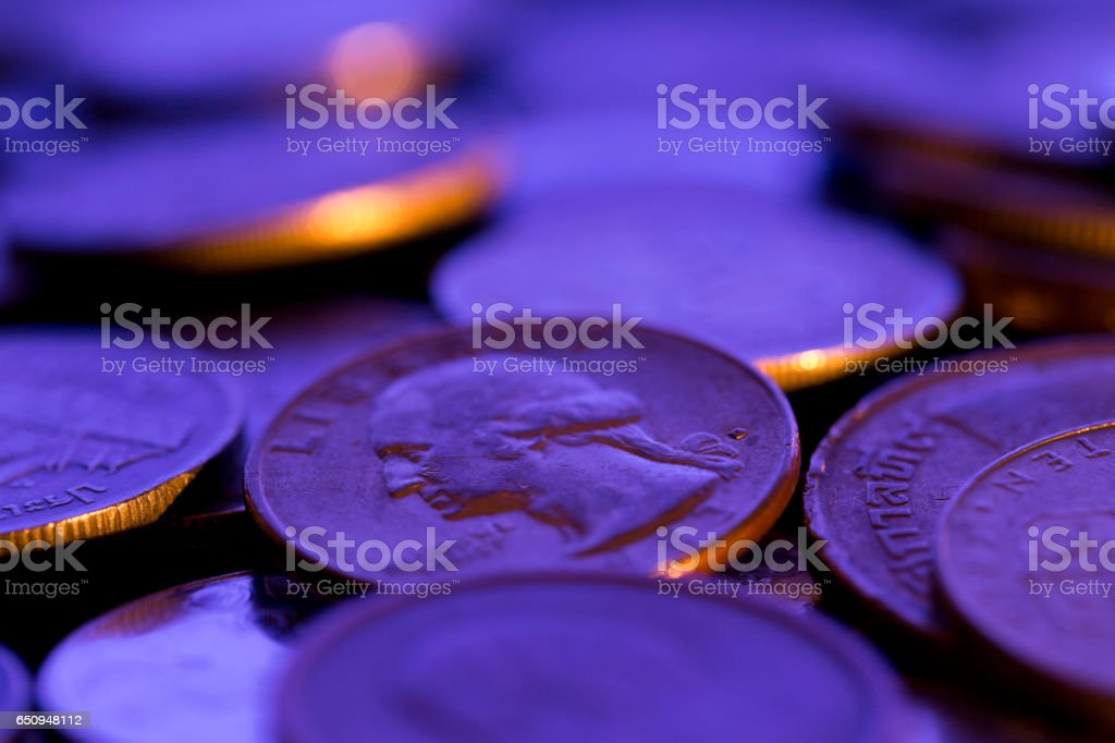 Close Up of Coins stock photo