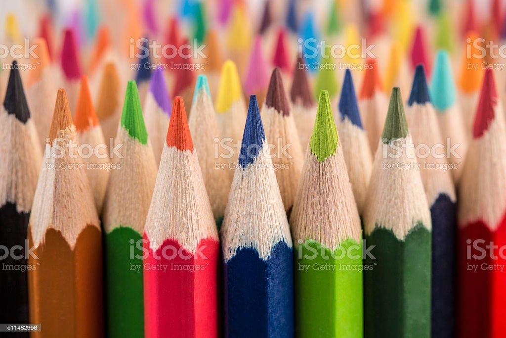 Close up of color pencil pile pencil nibs stock photo