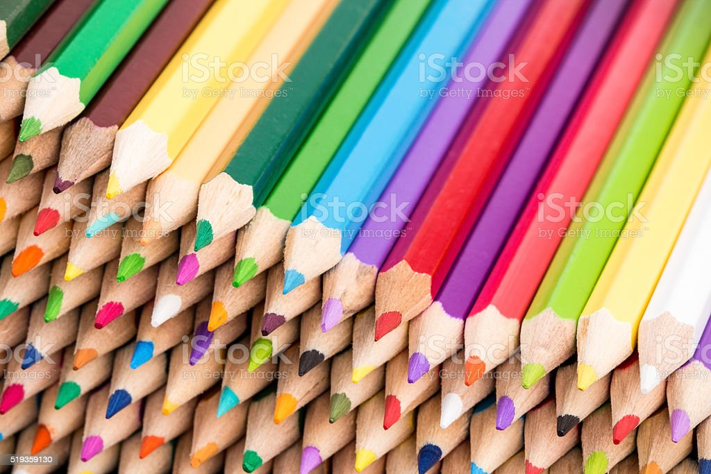 Close up of color pencils pile front facing stock photo