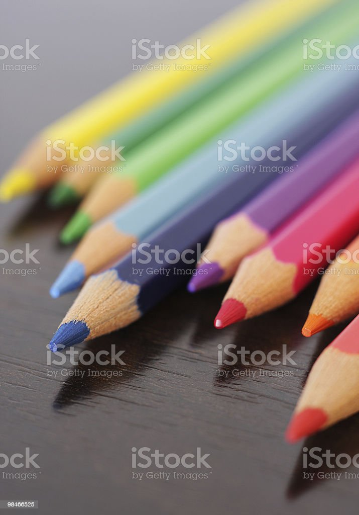 Close up of colored pencils royalty-free stock photo