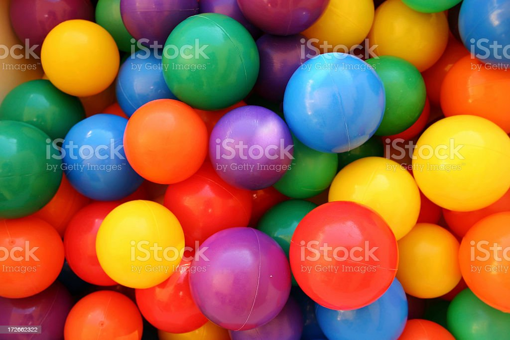 Close up of colored plastic balls stock photo