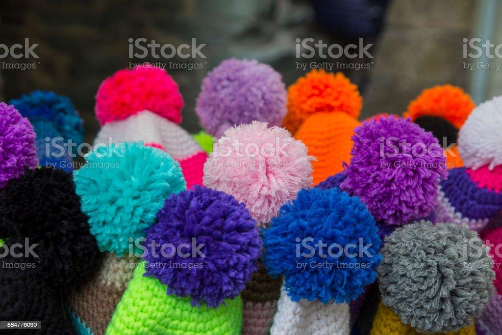 close up of colored pom pom stock photo