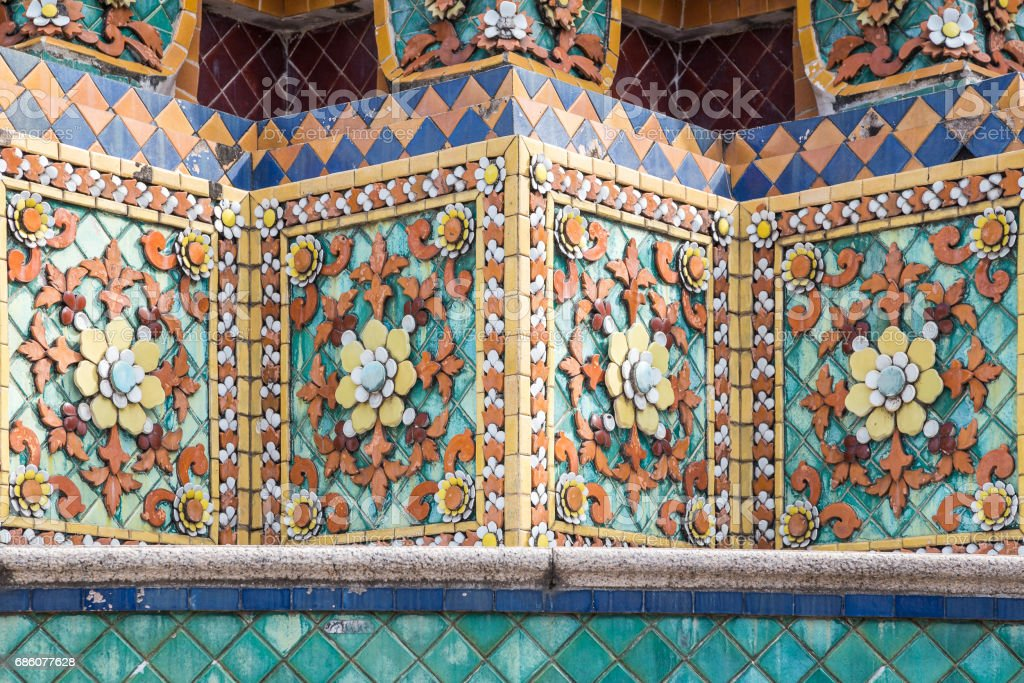 Close up of colorful southeast Asian mosaic tiles stock photo