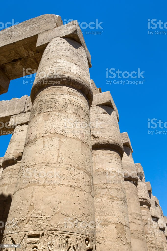 Close up of columns covered in hieroglyphics, Karnak, Egypt. royalty-free stock photo