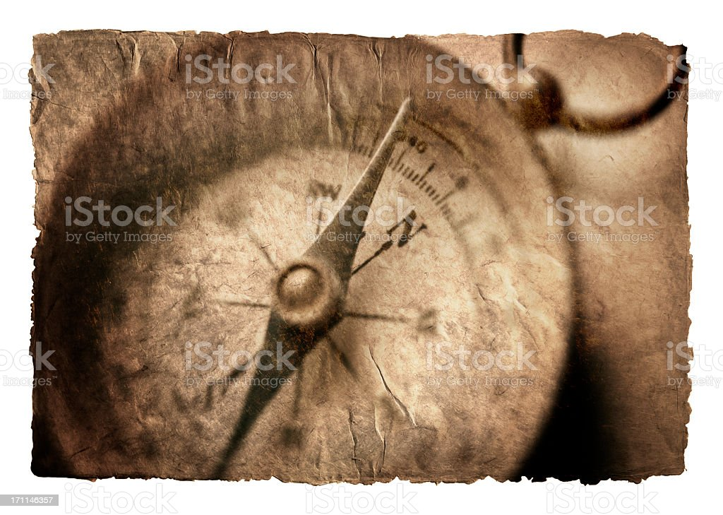 Close Up Of Compass Face On Textured Surface royalty-free stock photo