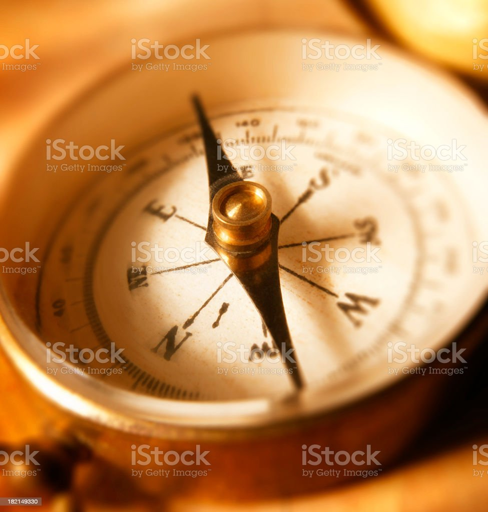 Close Up of Compass Face With Shallow Depth Of Field royalty-free stock photo