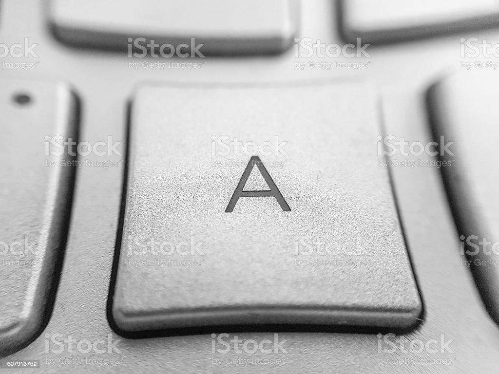 close up of computer key  - letter a key stok fotoğrafı
