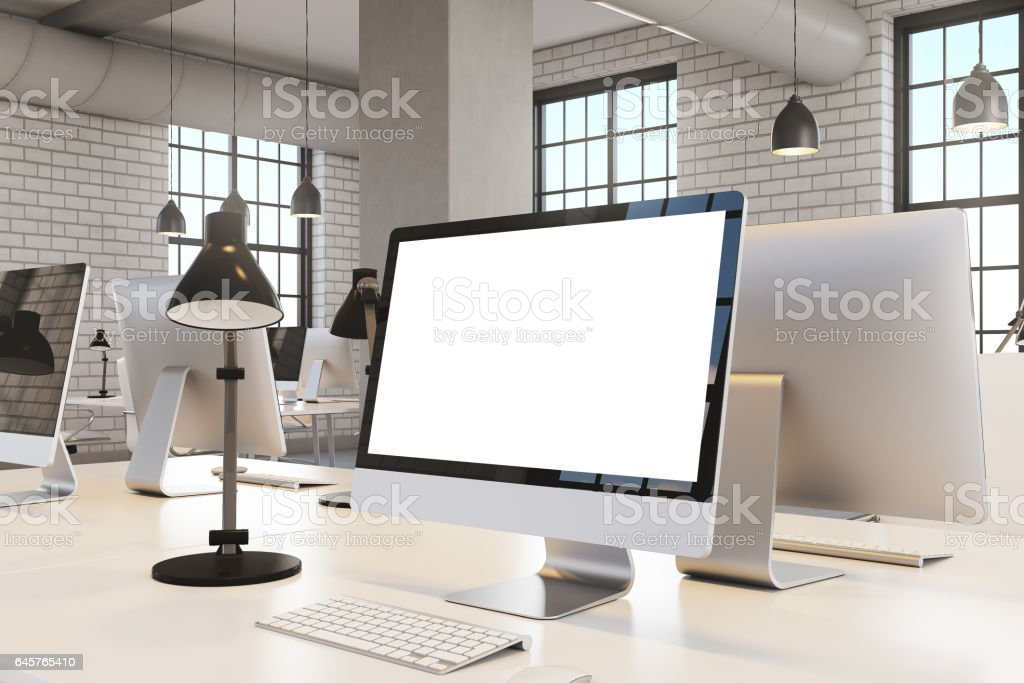 Close up of computer screen, office stock photo