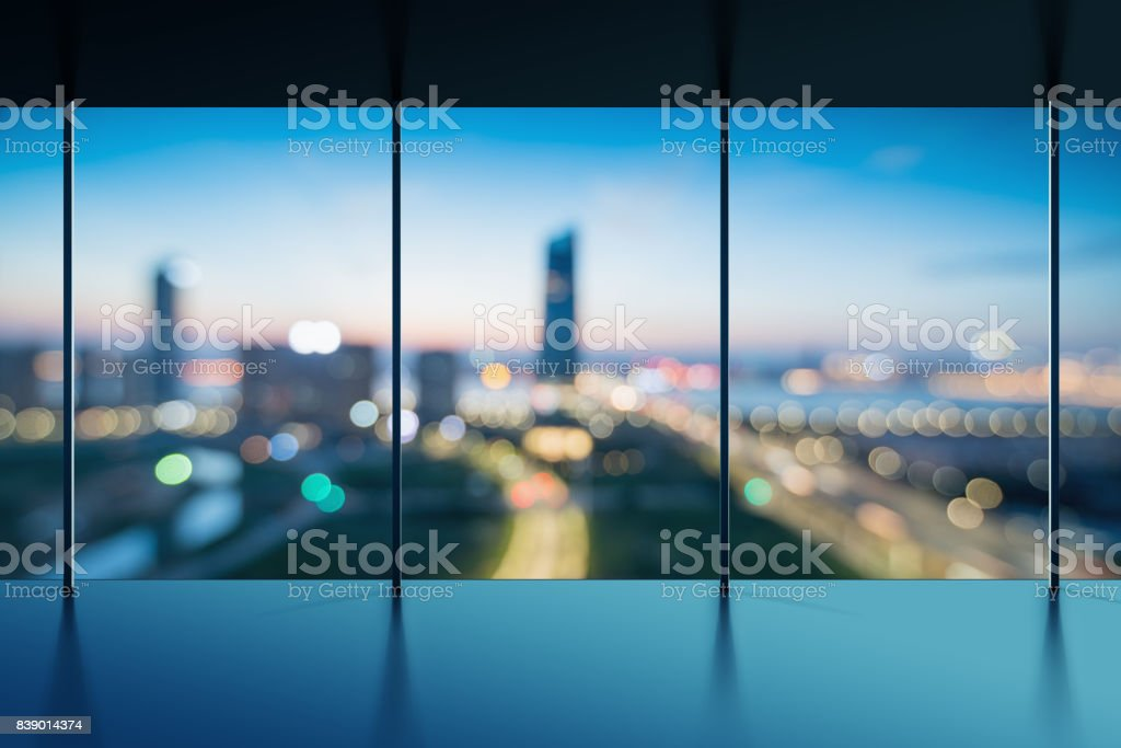 Close up of concrete balcony in modern building. Night city background. 3D Rendering stock photo