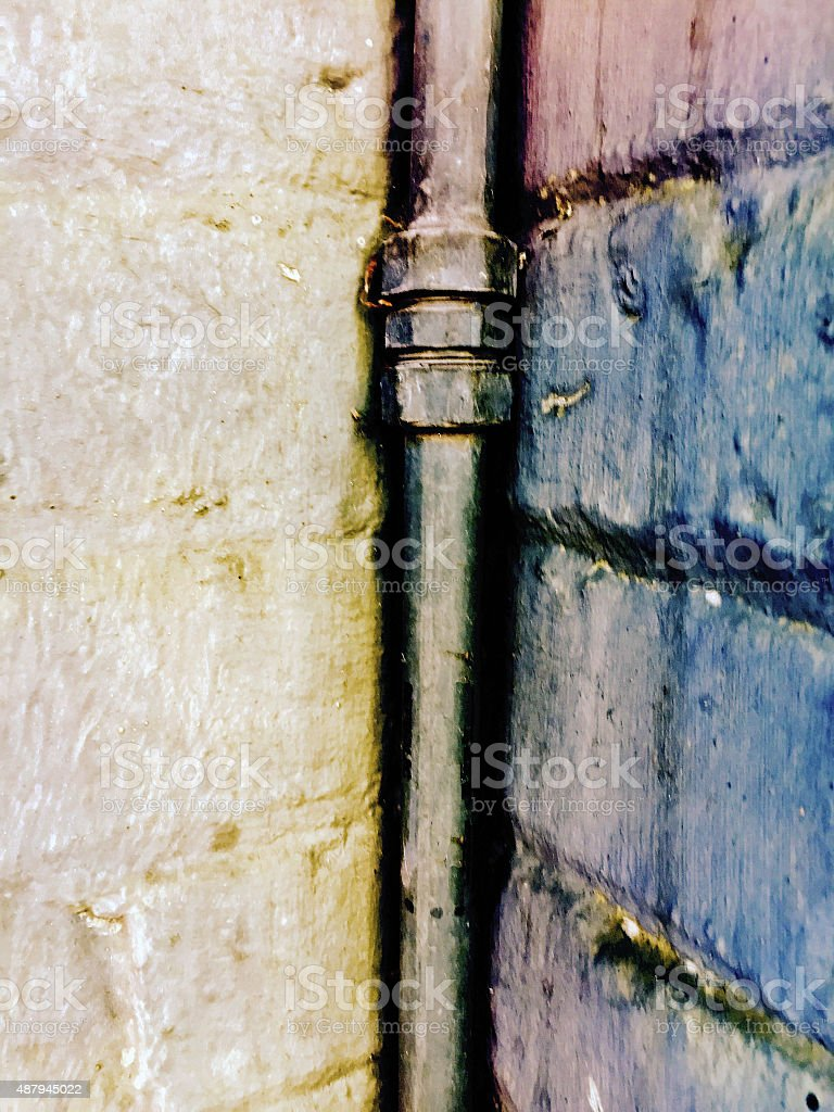 Close up of corner pipe outside royalty free stockfoto