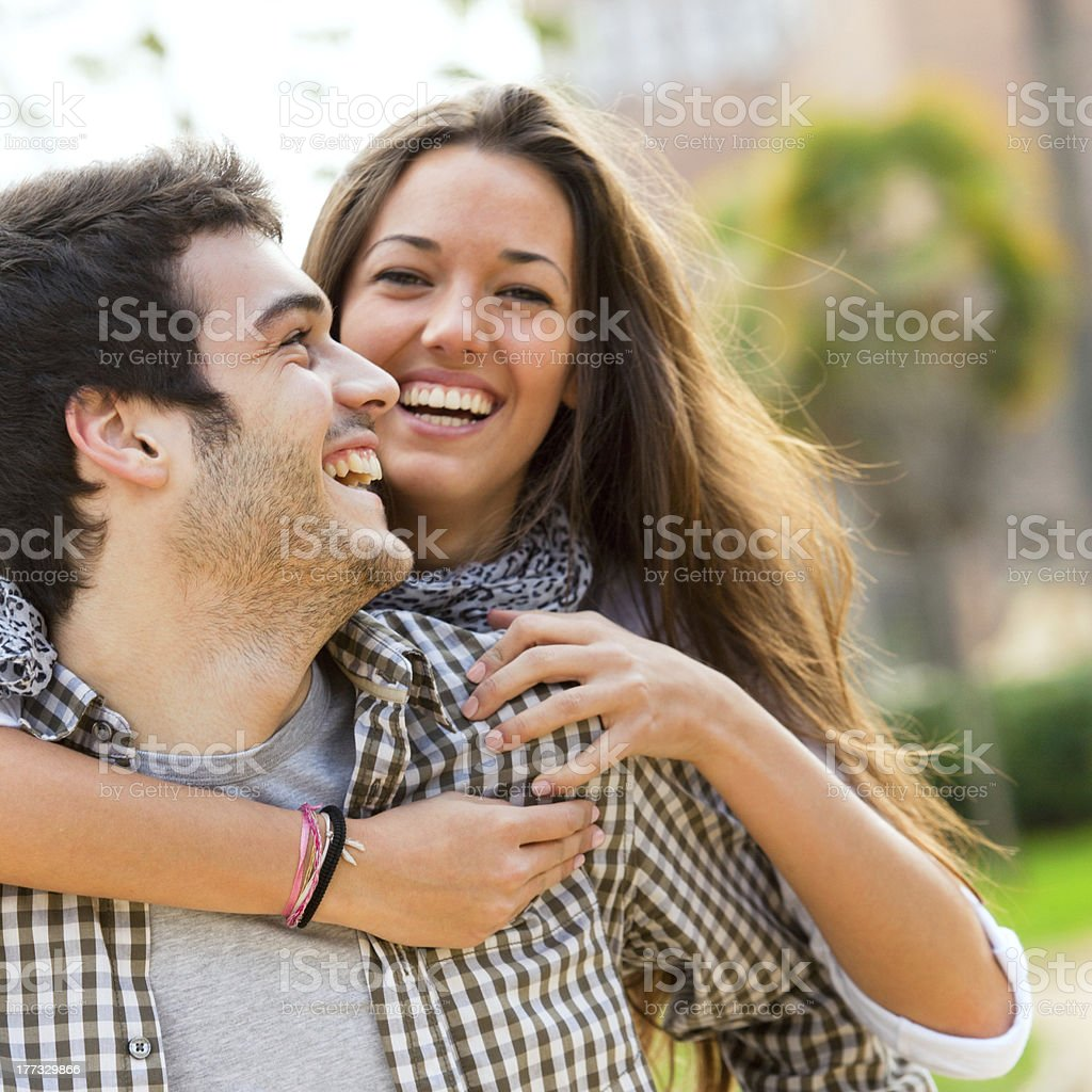 Close up of couple having fun outdoors stock photo