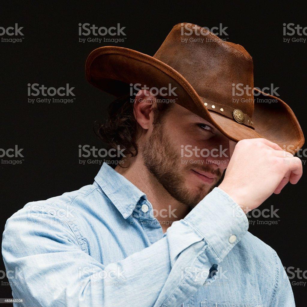 Close up of cowboy stock photo