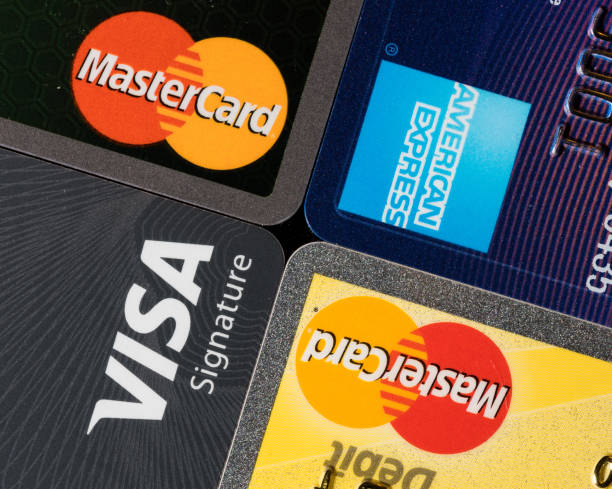 Close up of credit card issuer brands and logos stock photo