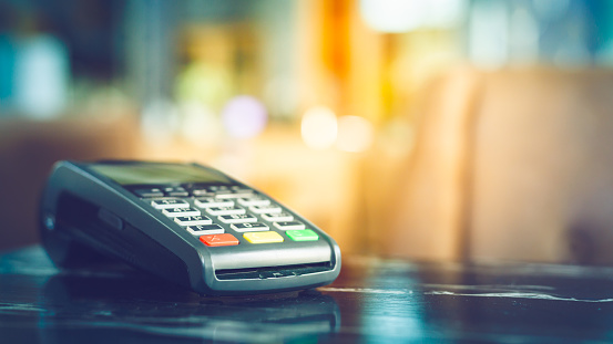 Close Up Of Credit Card Machine Stock Photo - Download Image Now