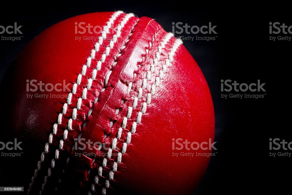 Close up of cricket ball stock photo