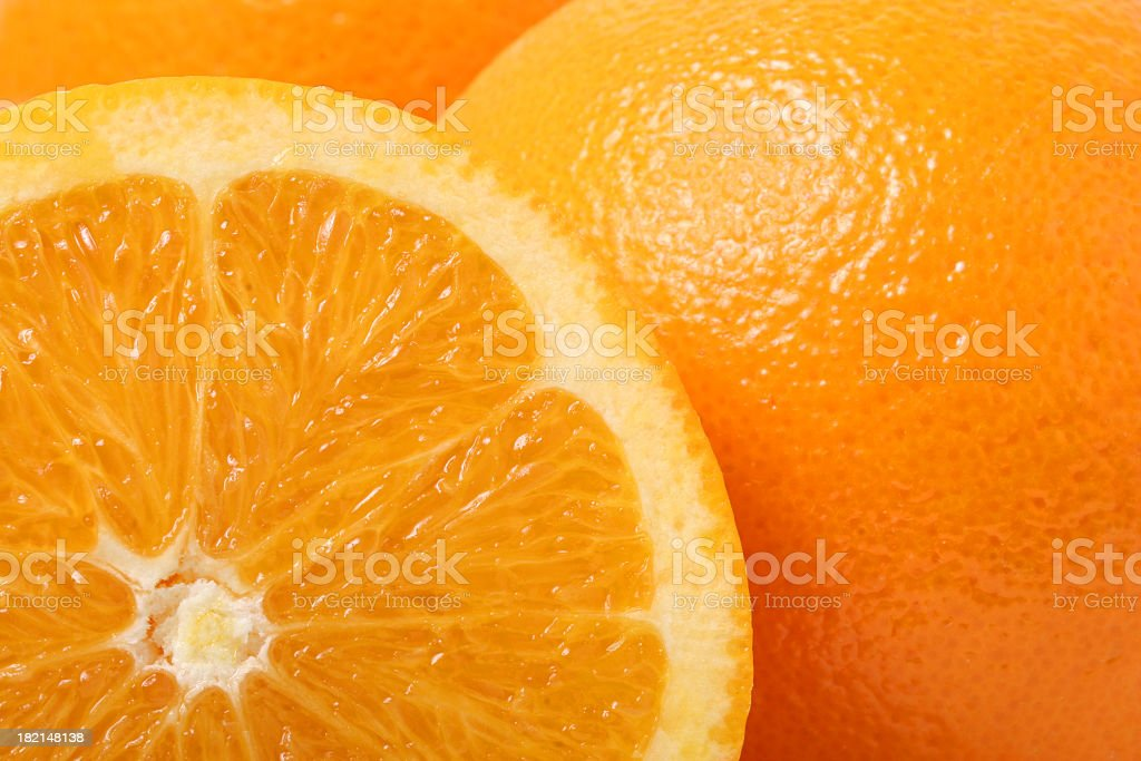 Close up of cross section of orange stock photo