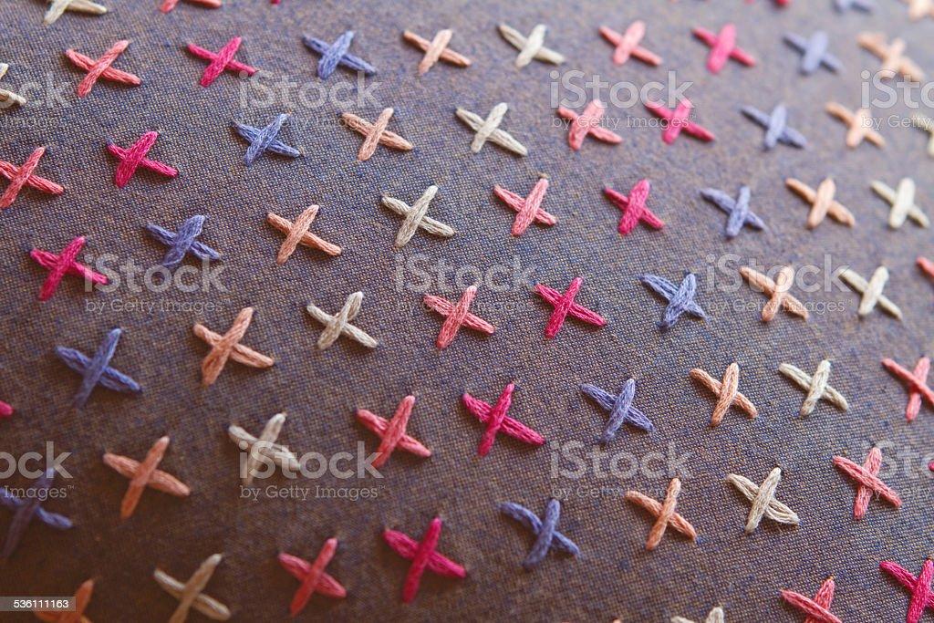 Close up of cross stitch detail on designer cushion stock photo