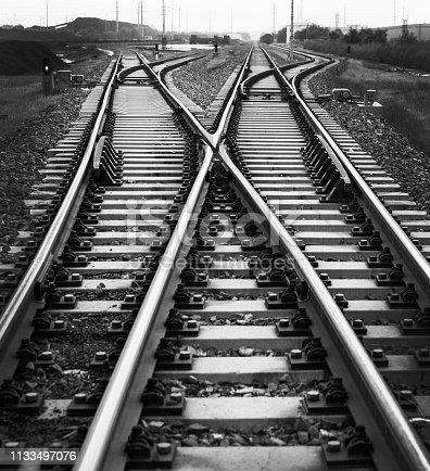 Close up of crossroad railroad.