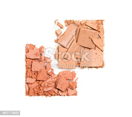 istock Close up of crushed facial powder on white background 842173632