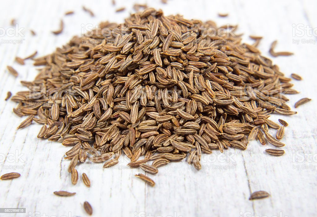 Close up of cumin seeds. Spice. stock photo