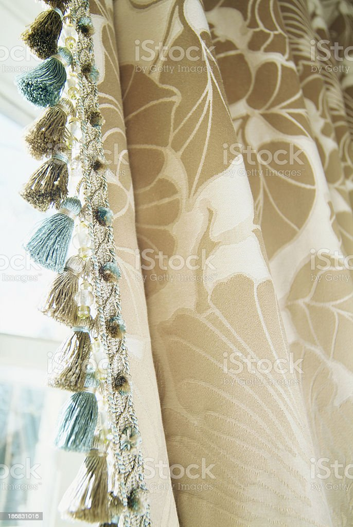 Close up of curtains and trimmings stock photo