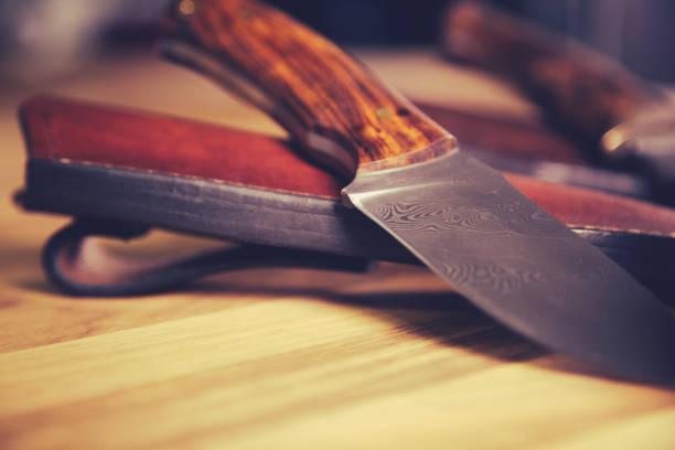 Close up of custom made knife. stock photo
