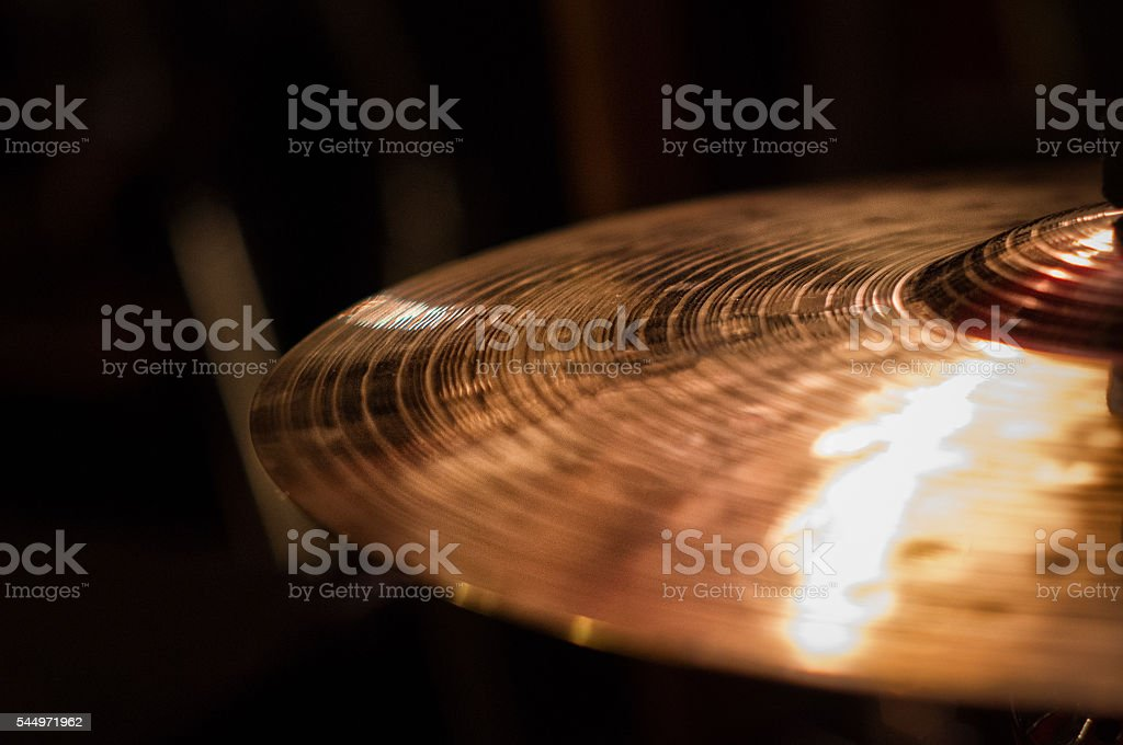 Close up of cymbal on drumkit, on the right stock photo