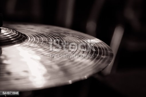 istock Close up of cymbal on drumkit, to the left 544971846