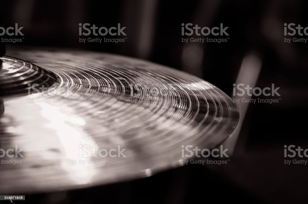 Close up of cymbal on drumkit, to the left stock photo