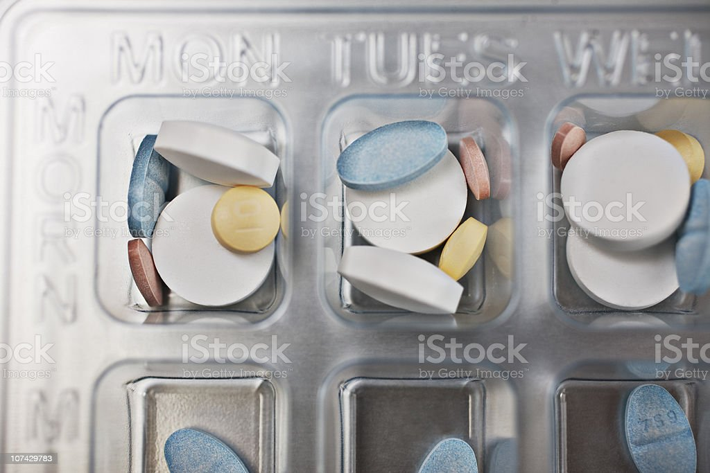 Close up of daily pill box stock photo