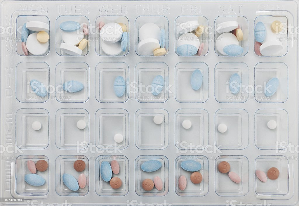 Close up of daily pill box stock photo