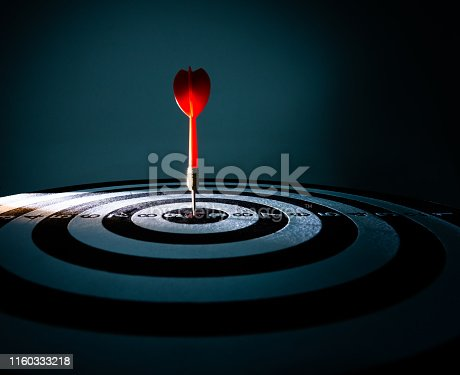 istock Close up of dart on target 1160333218