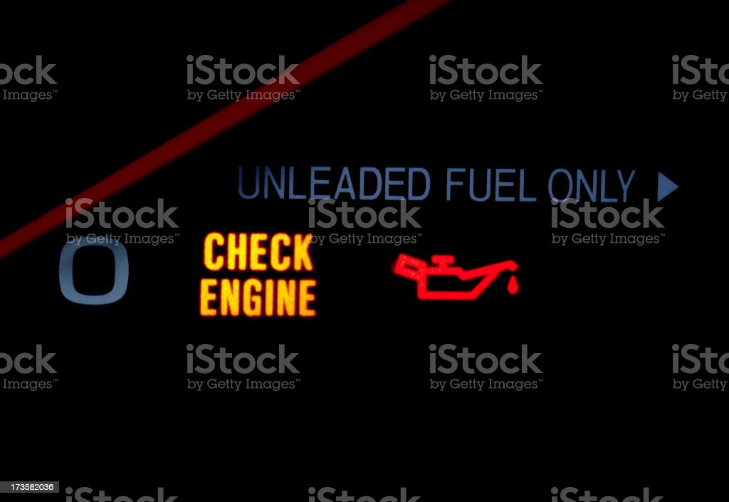 Close up of dash lights in car royalty-free stock photo