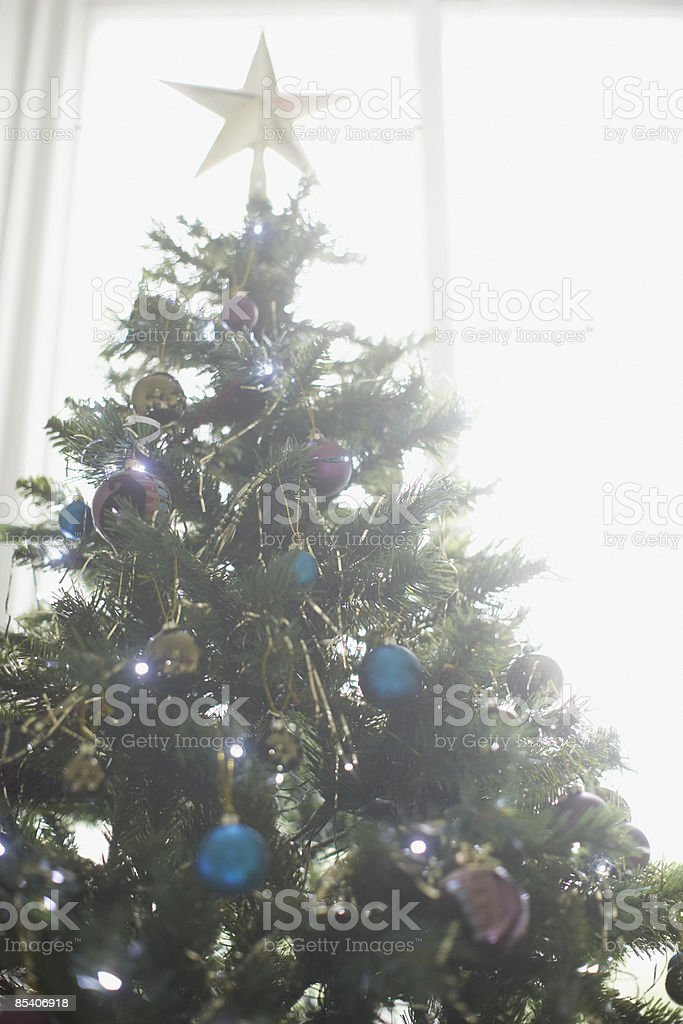Close up of decorated Christmas tree 免版稅 stock photo