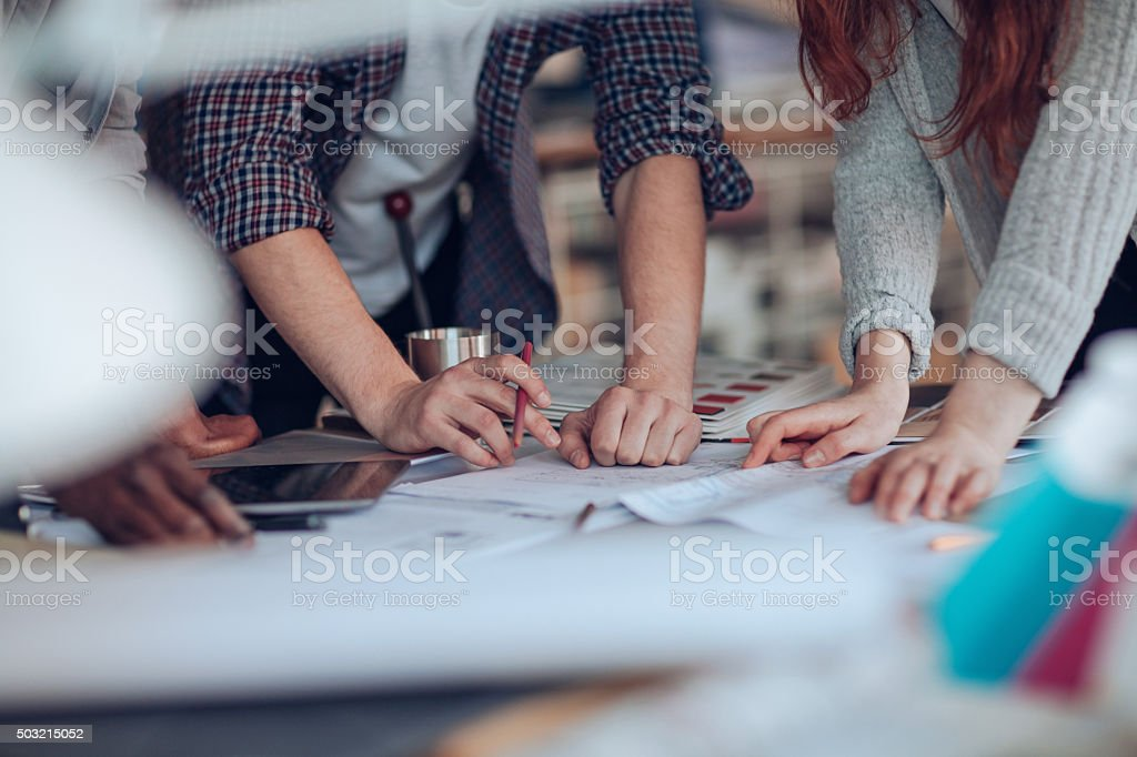 Close up of designers hands royalty-free stock photo