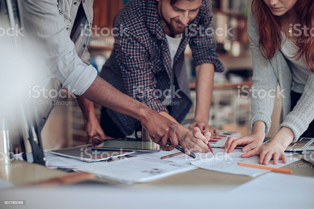 Close up of designers hands stock photo