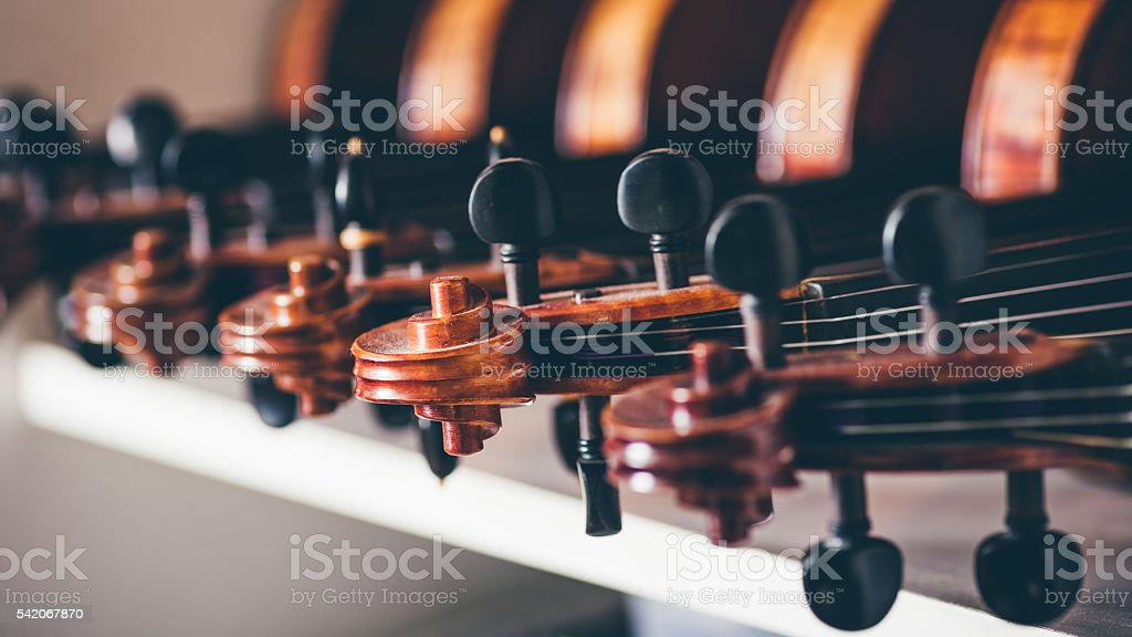 Close up of detail of violin, shallow dof. stock photo