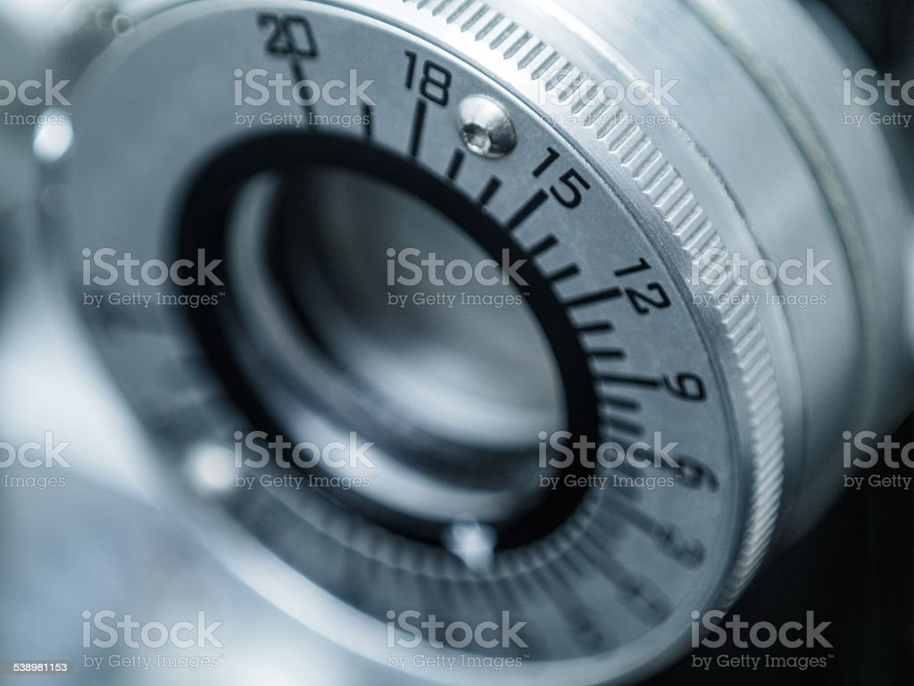 Close Up of Dial on Phoropter in Eye Doctor's Office stock photo