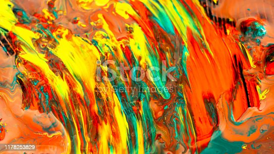 istock Close up of different acrylic color oil paint abstract background 1178253829