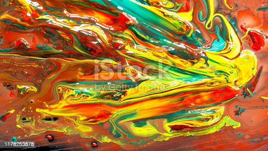 istock Close up of different acrylic color oil paint abstract background 1178253878