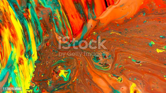 istock Close up of different acrylic color oil paint abstract background 1178253890