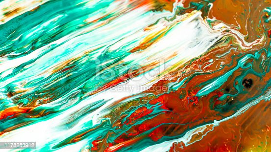 istock Close up of different acrylic color paint abstract background 1178253912